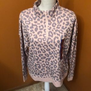 Greyson Threads Animal print 1/4 zip pullover new